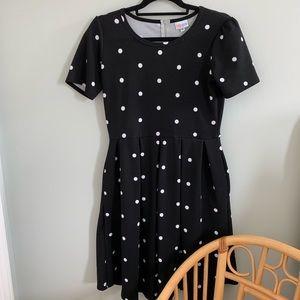 LulaRoe Amelia Pocket Dress Black White Polka dot